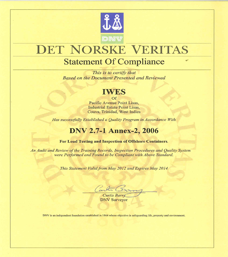 Iwes Proof Of Certifications